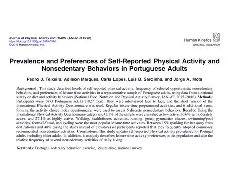 Prevalência e preferências da atividade física em adultos portugueses